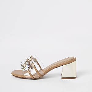 Gold perspex block heel sandals