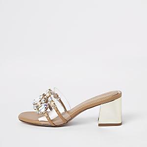 Goudkleurige perspex sandalen met blokhak