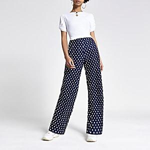 Navy plisse spot print wide leg pants