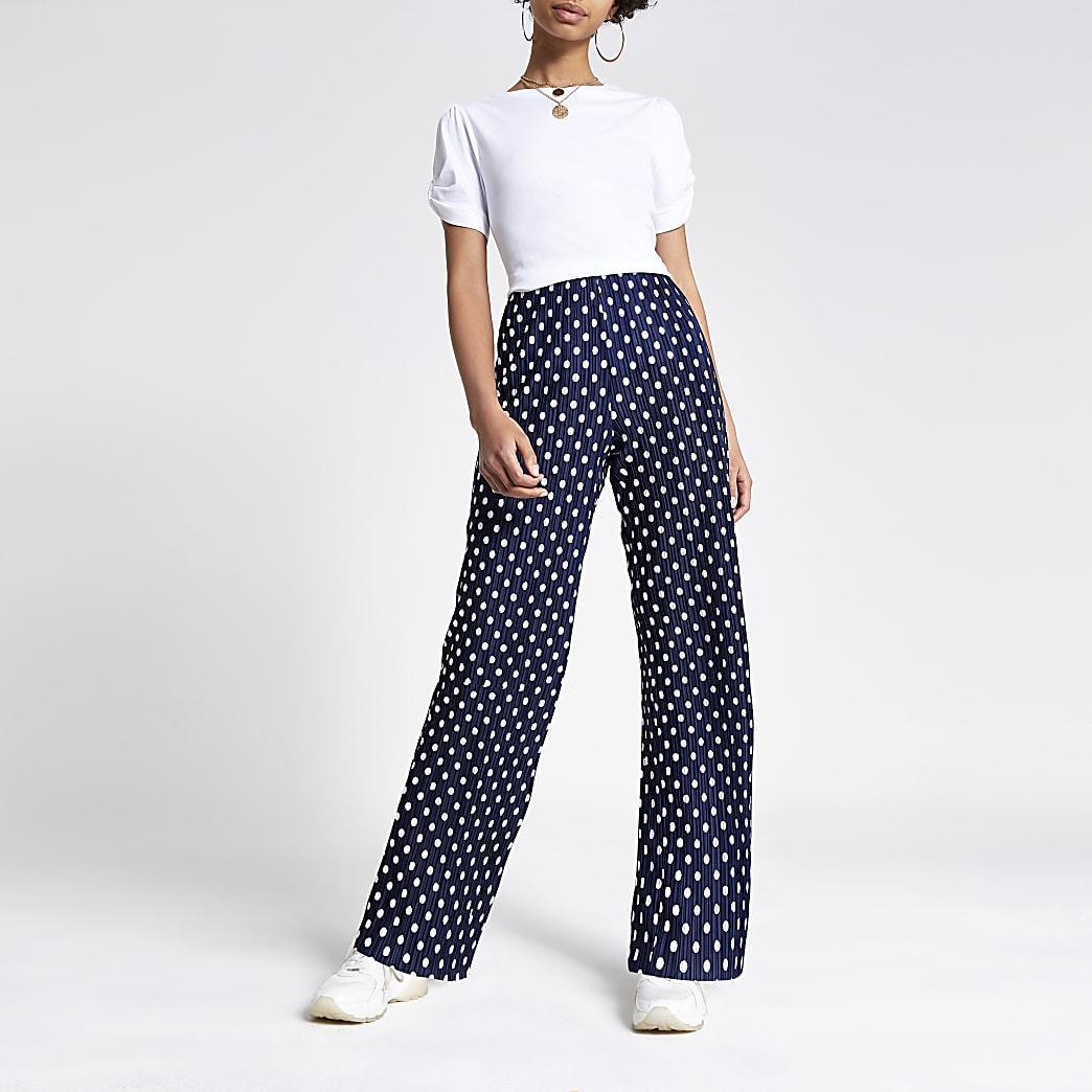 Pantalon large à pois bleu marine plissé