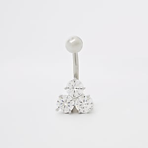 Silver rhinestone cubic zirconia belly bar