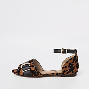 Chaussures imprimé léopard marron à bout peep toe