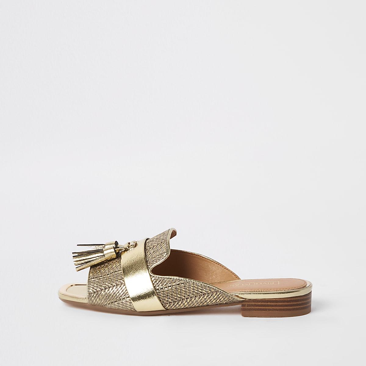 Gold tassel peep toe mule