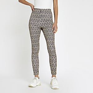 Brown RI monogram print leggings