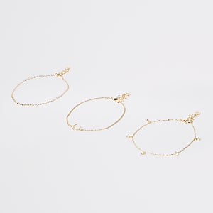 Gold colour horseshoe diamante anklet
