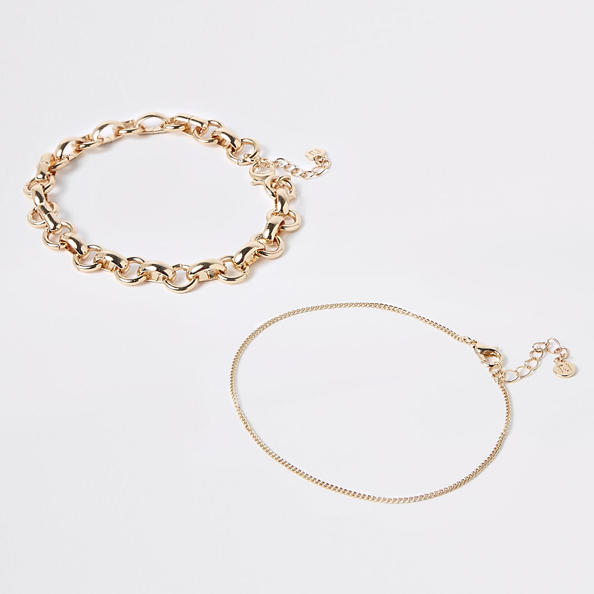 Gold colour chunky anklet multipack