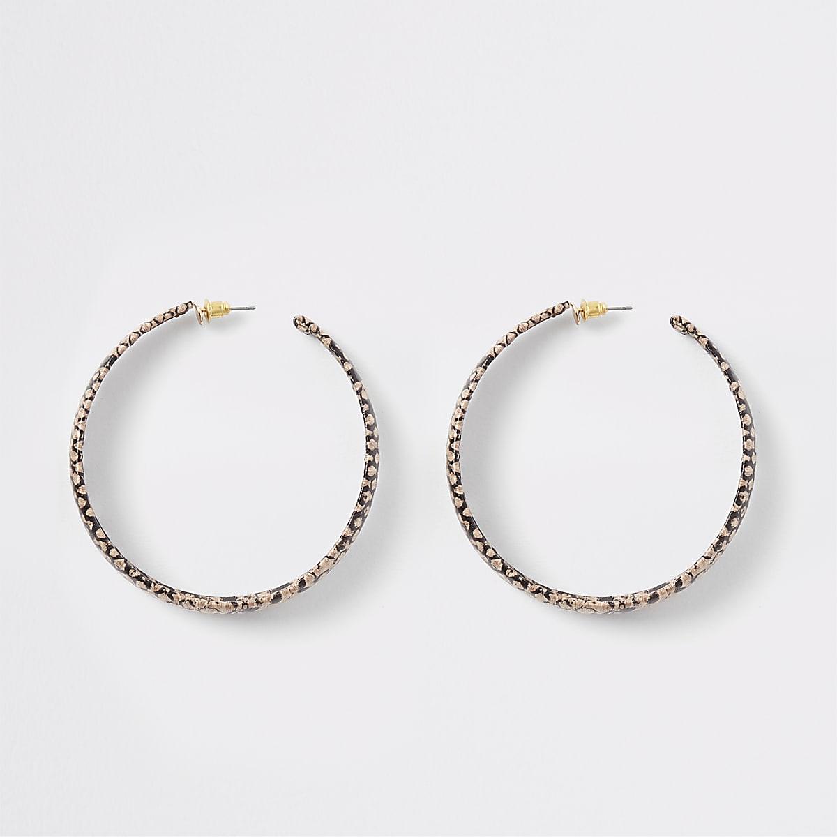 Brown snake print hoop earrings