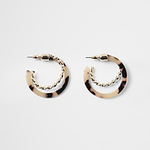 Gold colour tortoiseshell twist hoop earrings