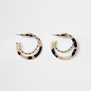 Gold color tortoiseshell twist hoop earrings