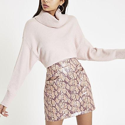 Pink snake print vinyl mini skirt