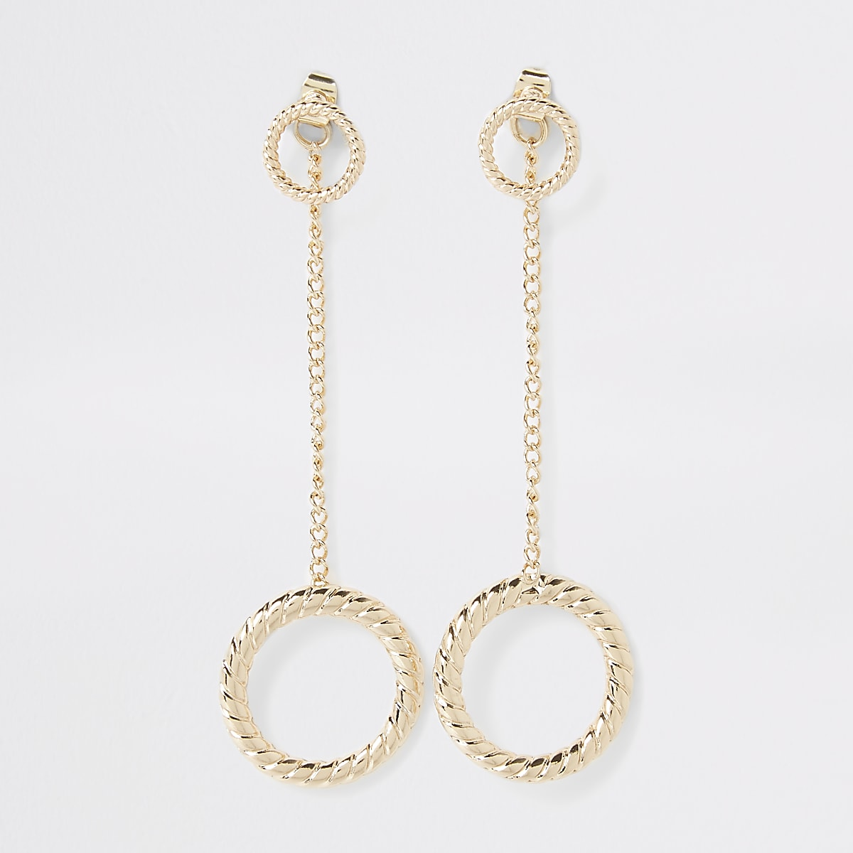 Gold colour twist front and back earrings