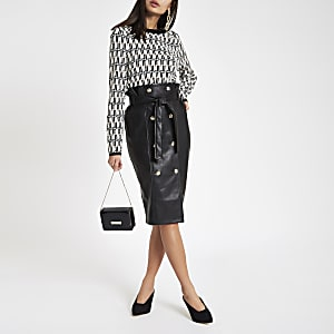 Black faux leather tie waist pencil skirt