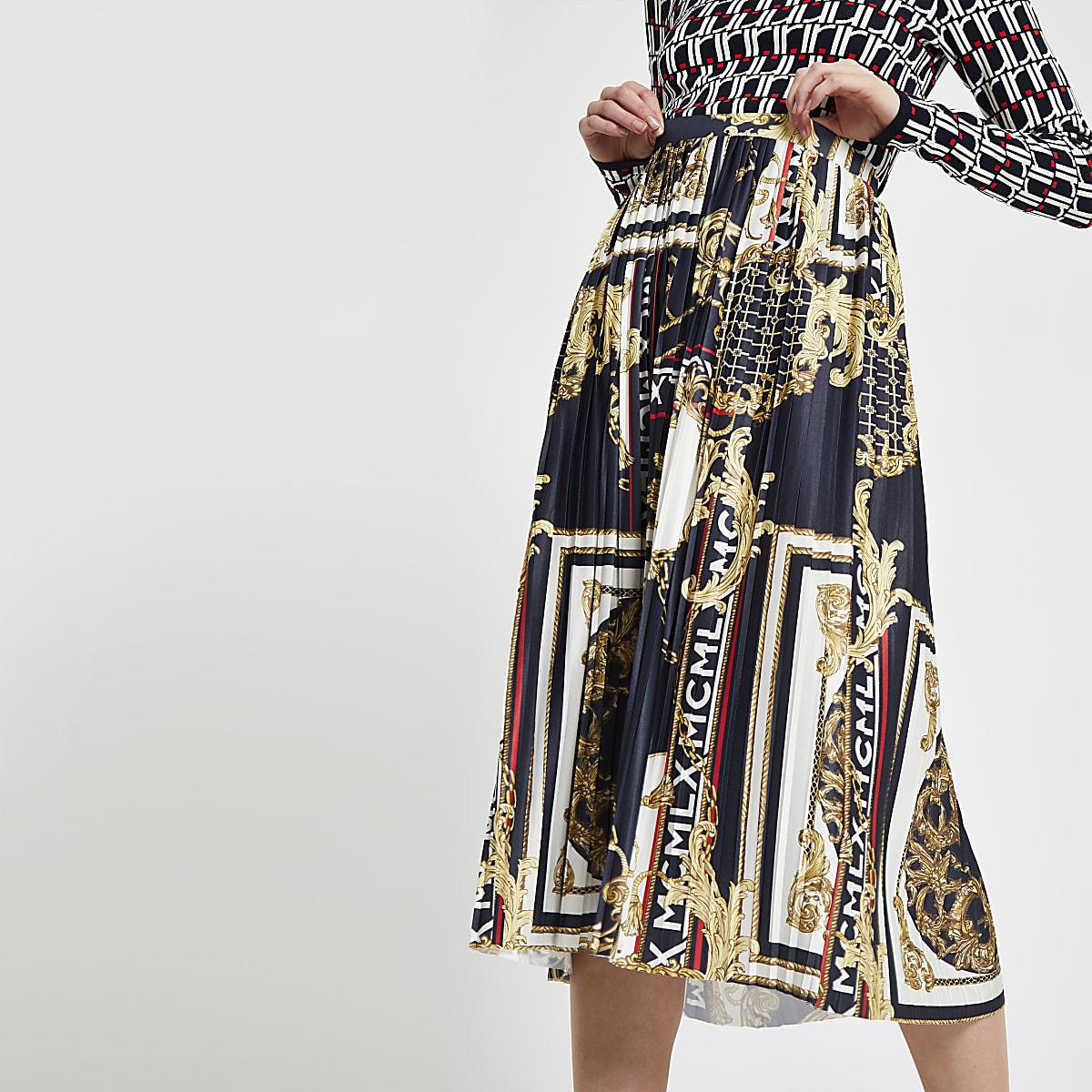 cb3c9cd78d Navy chain print pleated midi skirt - Midi Skirts - Skirts - women