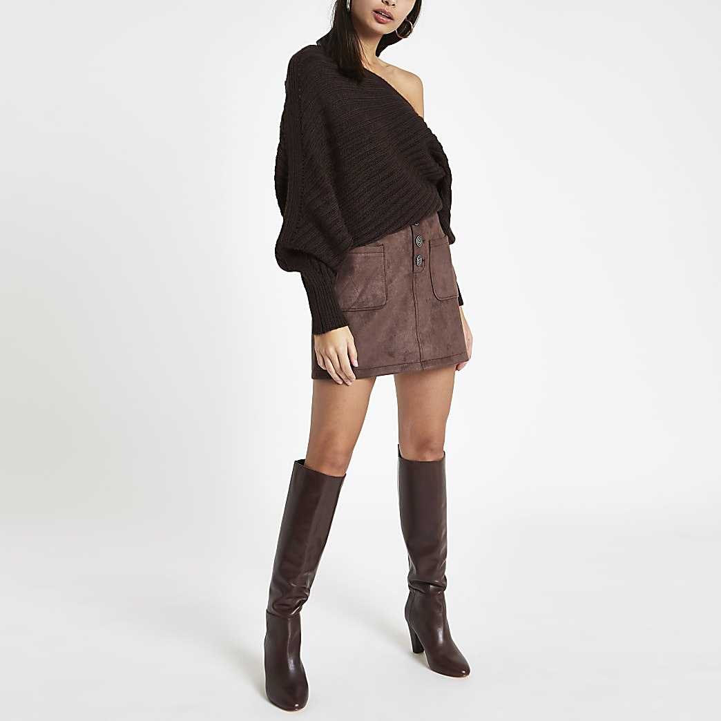 Brown faux suede button front mini skirt