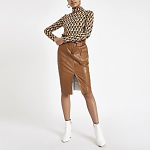Brown paperbag waist pencil skirt