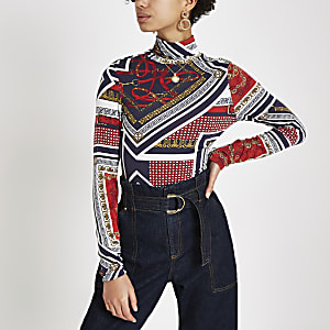 Red jersey scarf print roll neck top