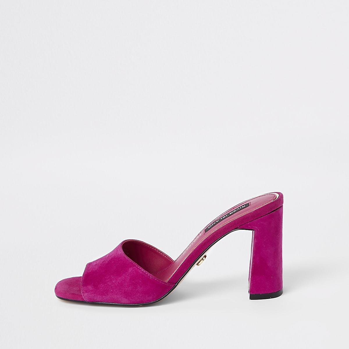 Pink suede mule sandals