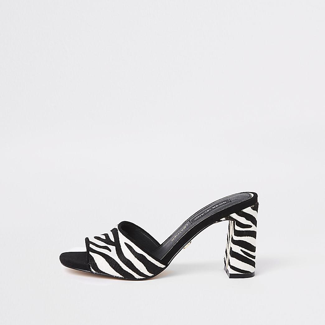 Sandales zébrées noires façon mules