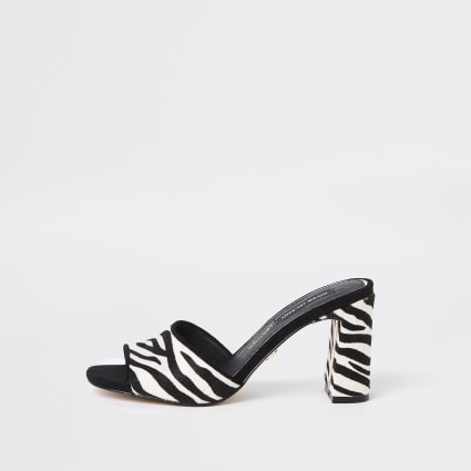 Black zebra print mule sandals