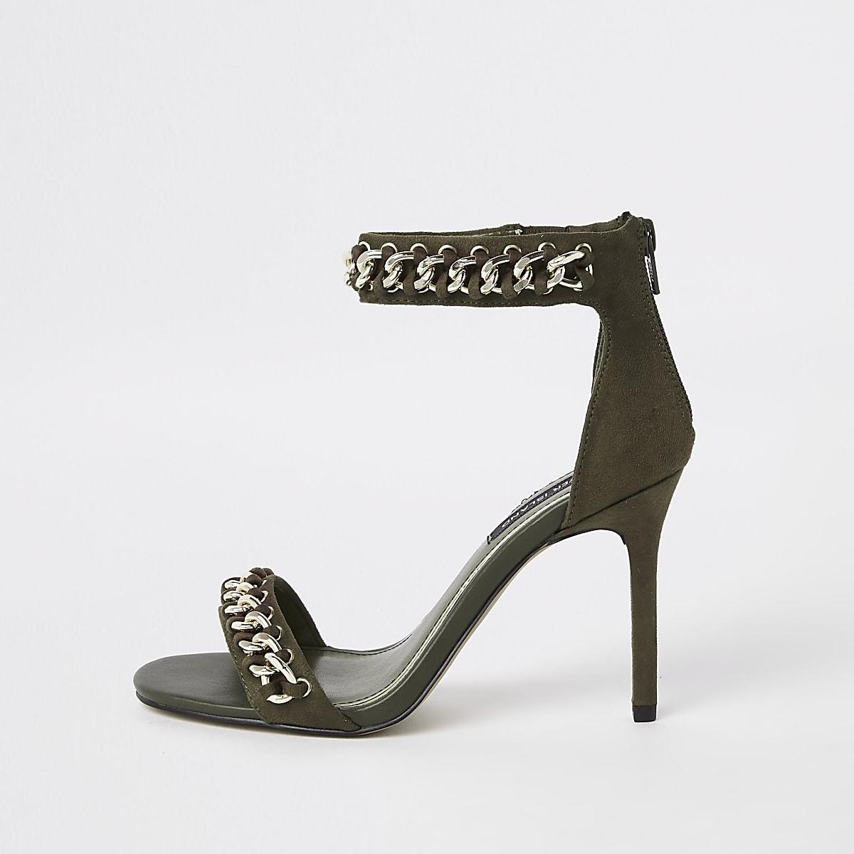 Kaki minimalistische sandalen met ketting