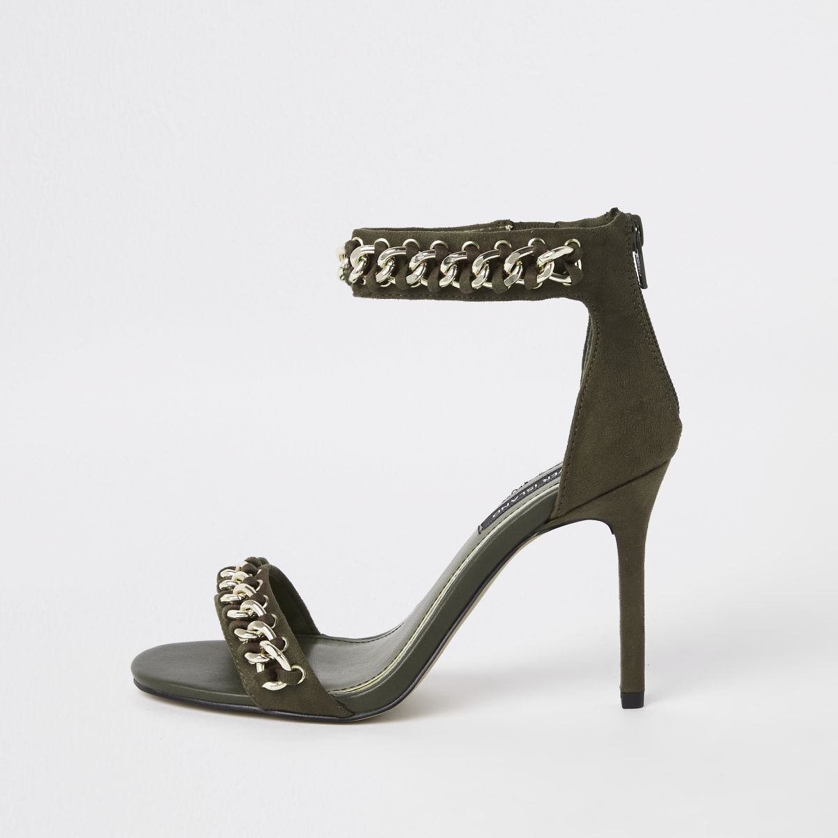Khaki chain barely there sandals