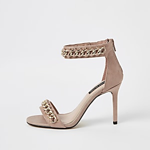 Light pink chain barely there sandals