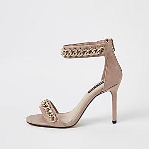 Lichtroze minimalistische sandalen met ketting