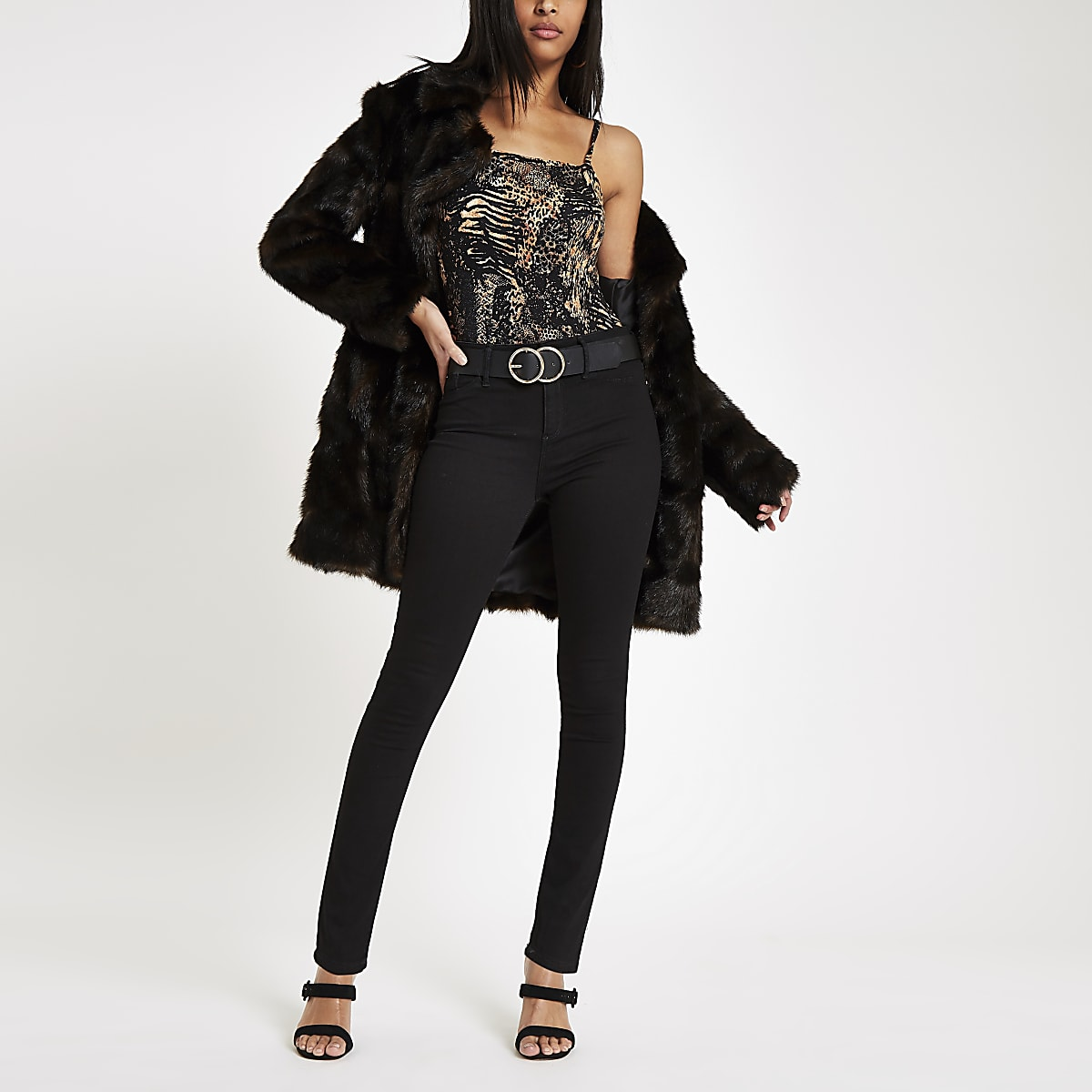 Brown animal print bodysuit