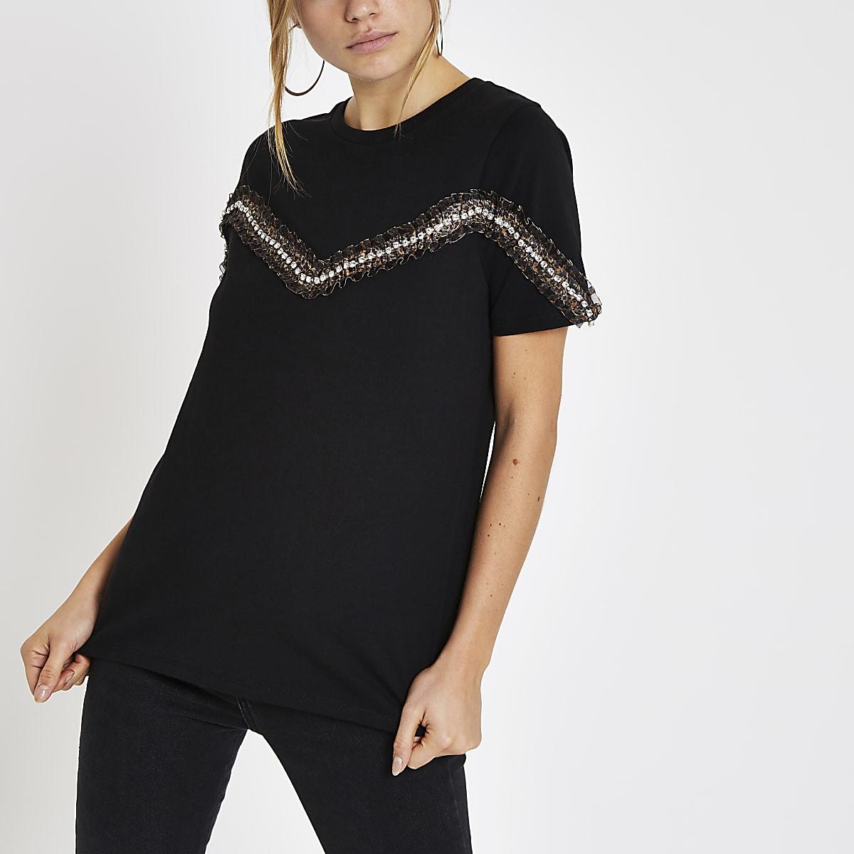 Black leopard print trim T-shirt