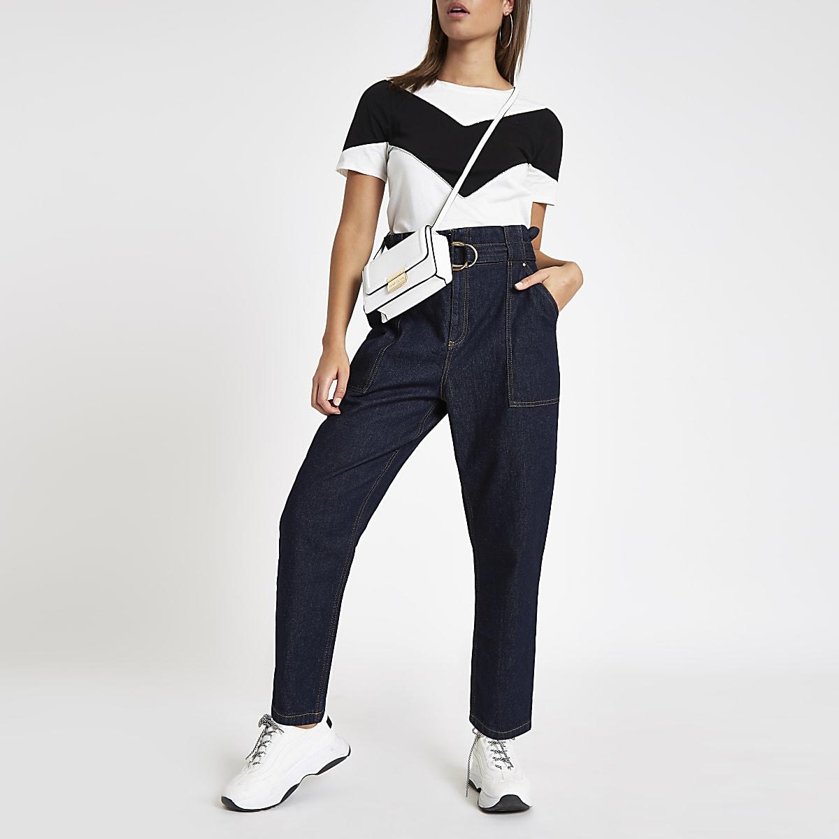 White and black colourblock T-shirt
