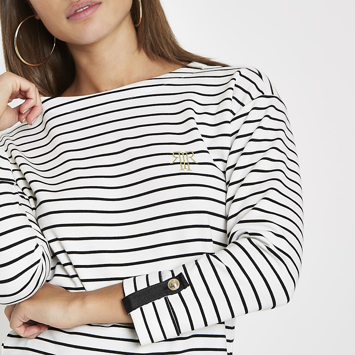 White stripe print jersey top