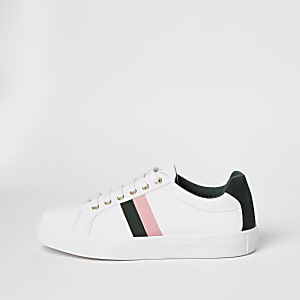 White lace-up side stripe trainers