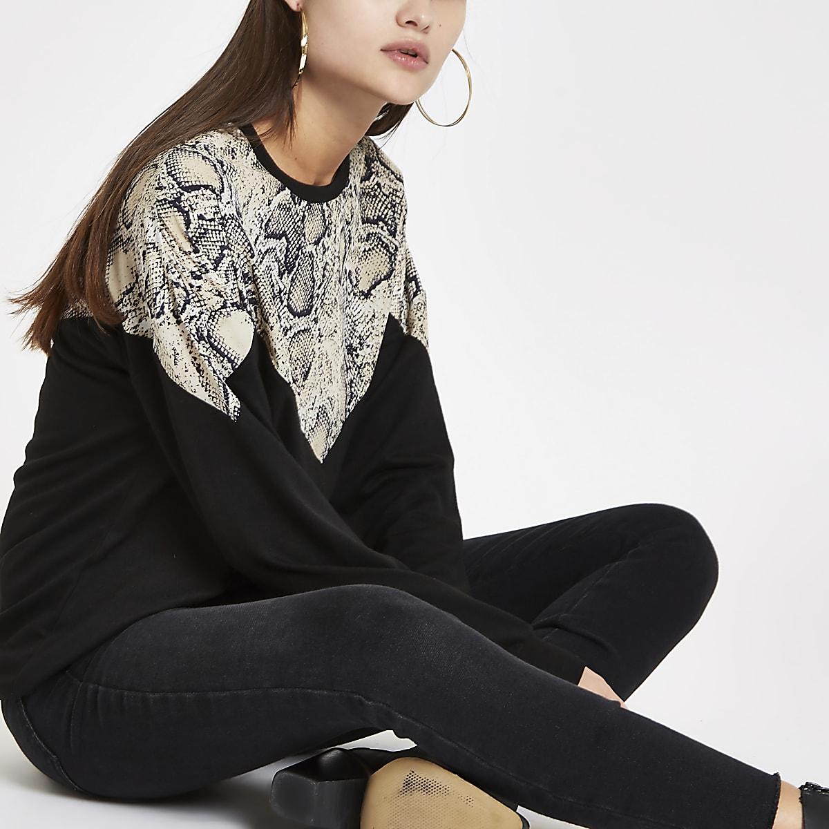 Black snake print block long sleeve top
