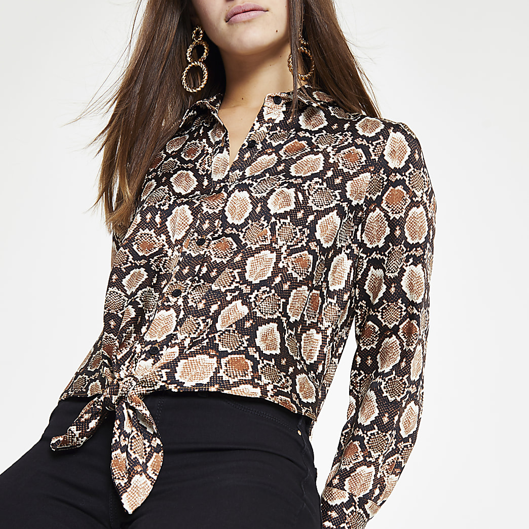 Petite brown snake print tie front shirt
