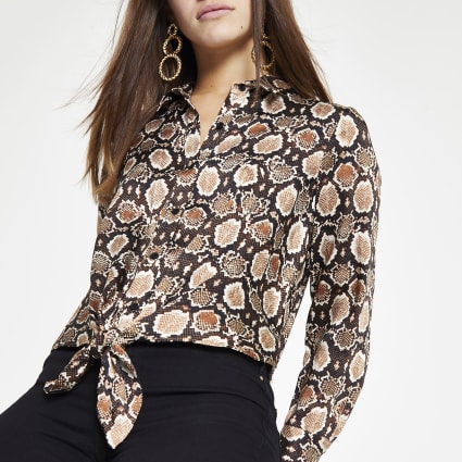Petite brown snake print tie front shirt