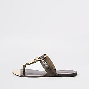 Sandales plates kaki à cadenas