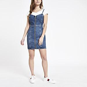 Petite – Blaues Denim-Bodycon-Kleid mit Reißverschluss