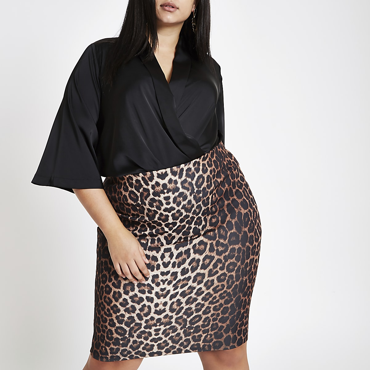75fe5904c Plus brown leopard print pencil skirt - Midi Skirts - Skirts - women