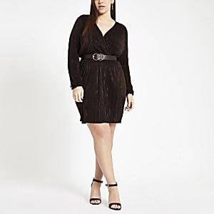 Plus dark brown plisse wrap front mini dress
