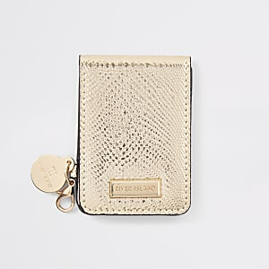 Gold croc fold out compact mirror