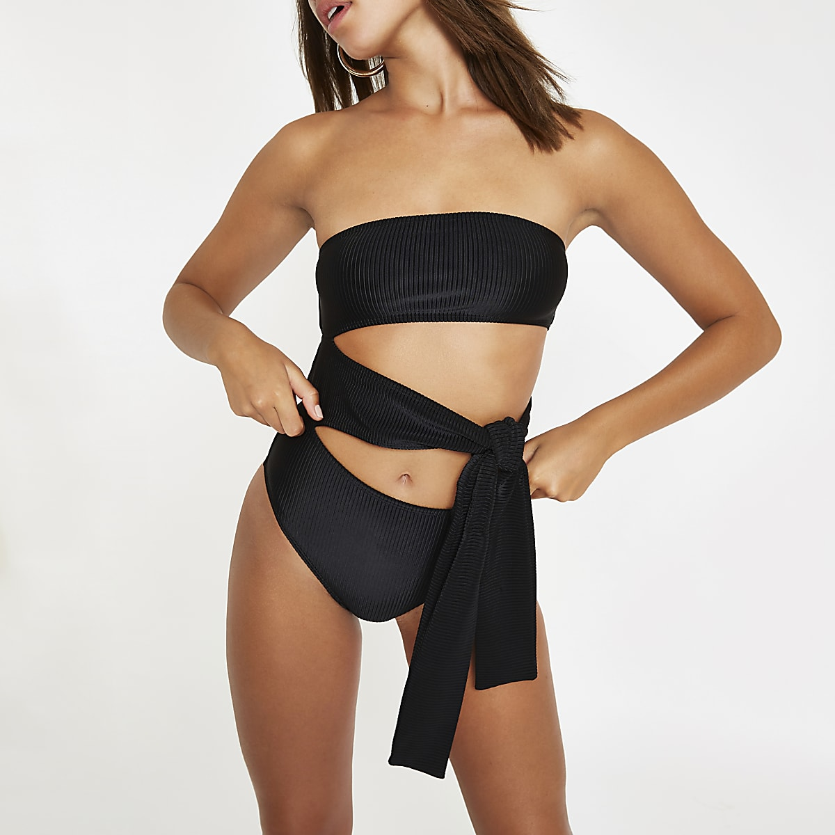 Black cut out tie bandeau swimsuit