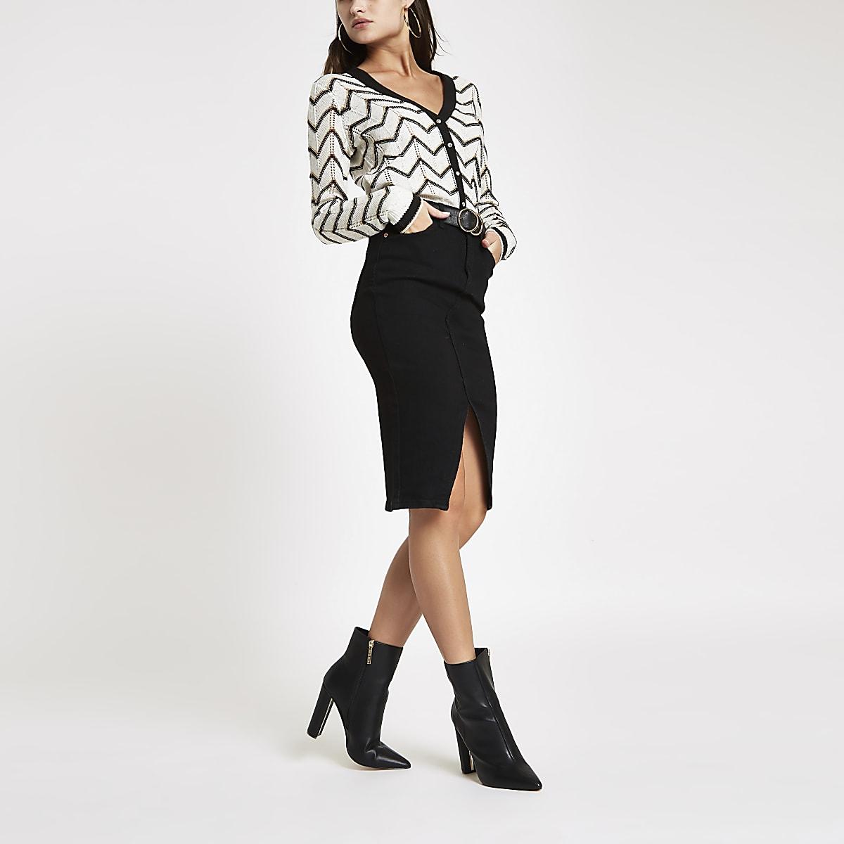Black denim pencil skirt
