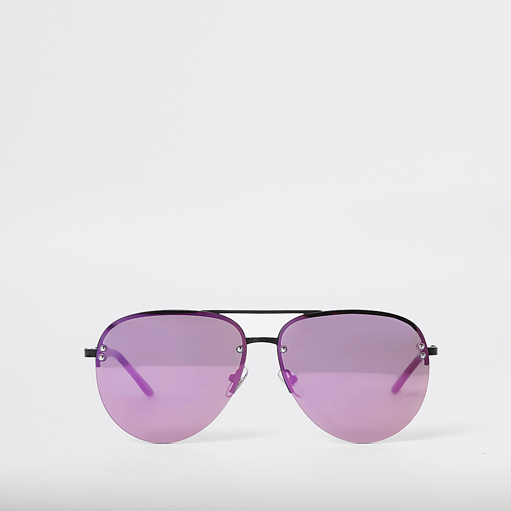 Purple lens aviator sunglasses