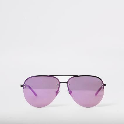 Purple lens aviator sunglasses