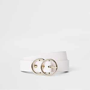 Light pink double ring mini jeans belt