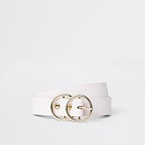 Lichtroze mini-jeansriem met dubbele ring