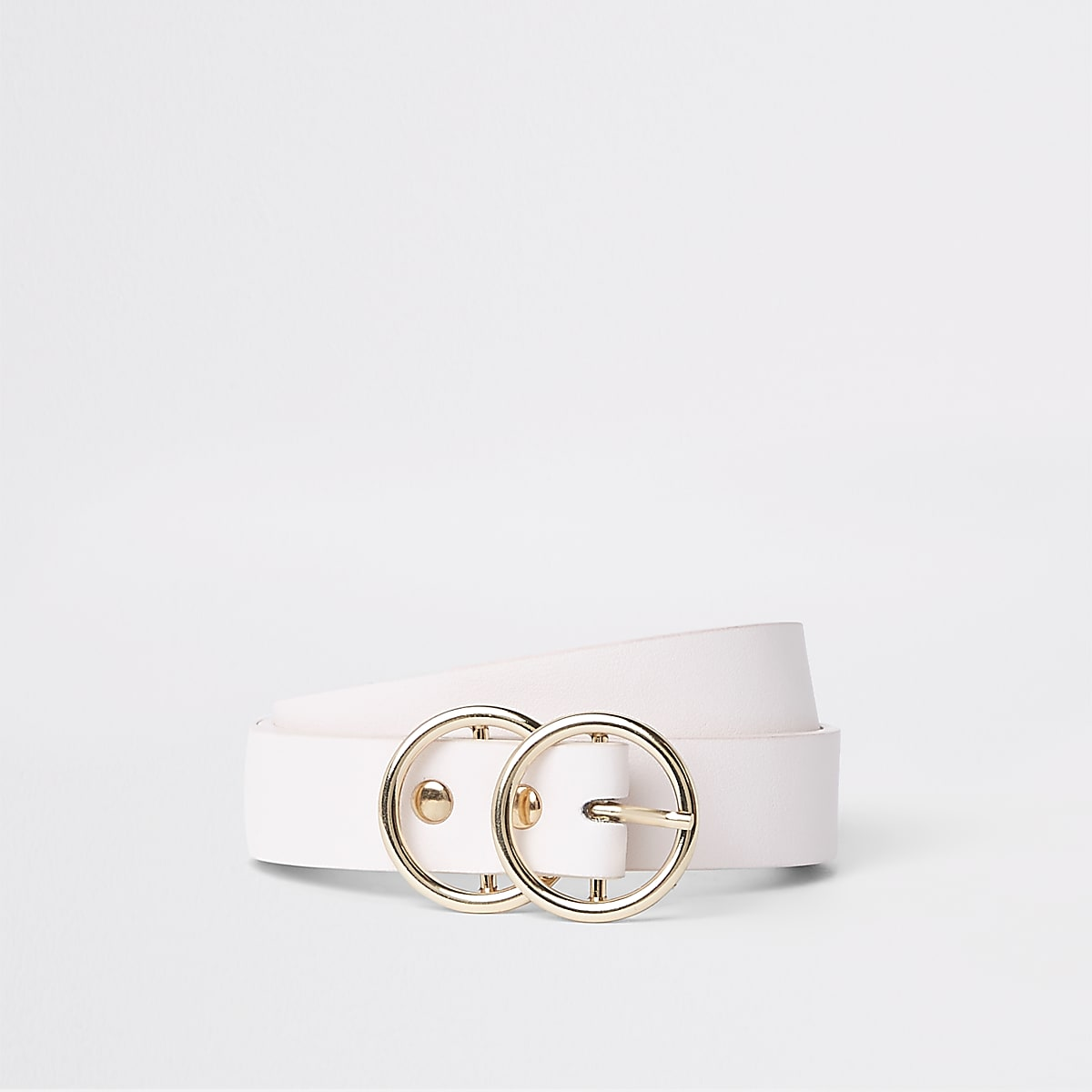 Light pink double ring mini jeans belt