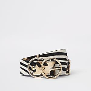 Jean imprimé animal marron avec boucle à deux anneaux