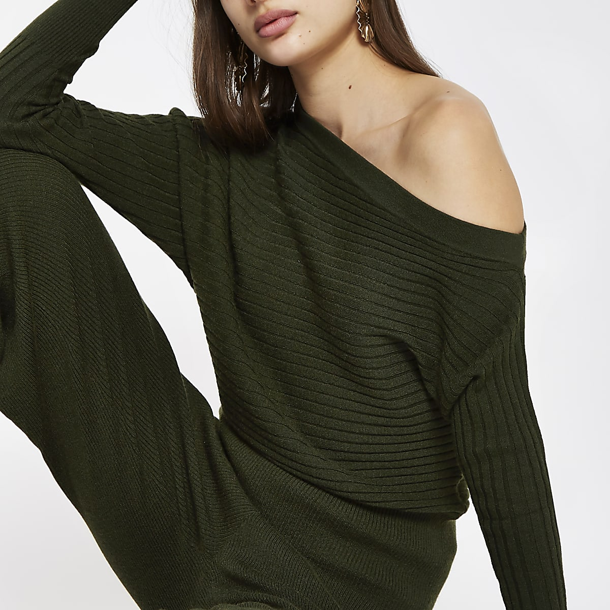 Khaki knit asymmetric sweater