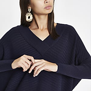 Navy ribbed knit V neck jumper